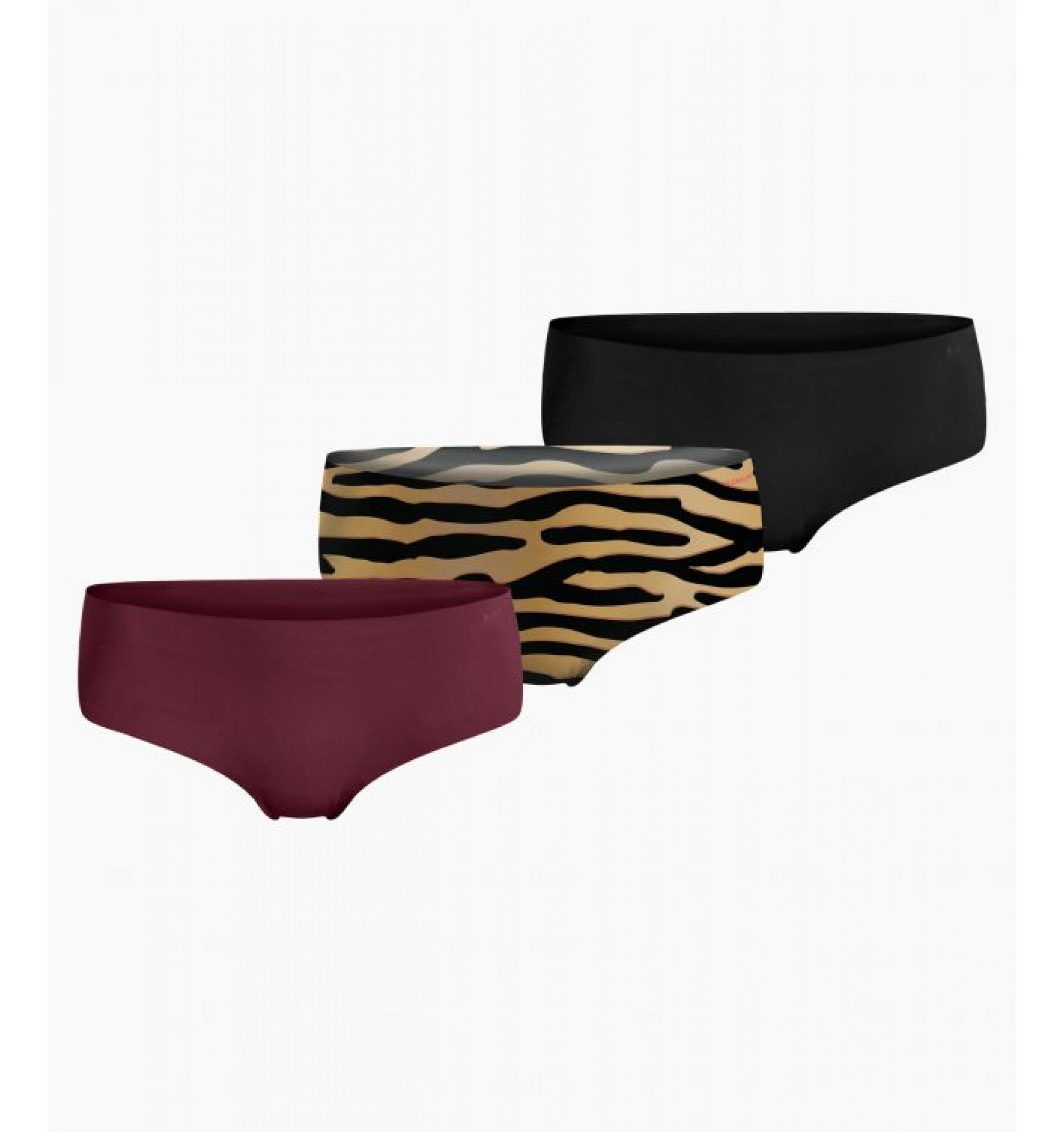 nohavičky boxerkové HIPSTER - 3PACK 'SELENA' čierna,bordová,tigrovaná  90651