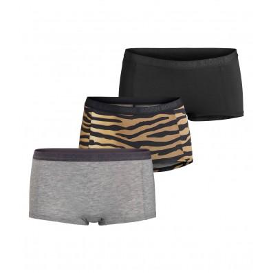 nohavičky boxerkové HIPSTER - 3PACK 'MIA' čierna,sivá,tigrovaná  90651