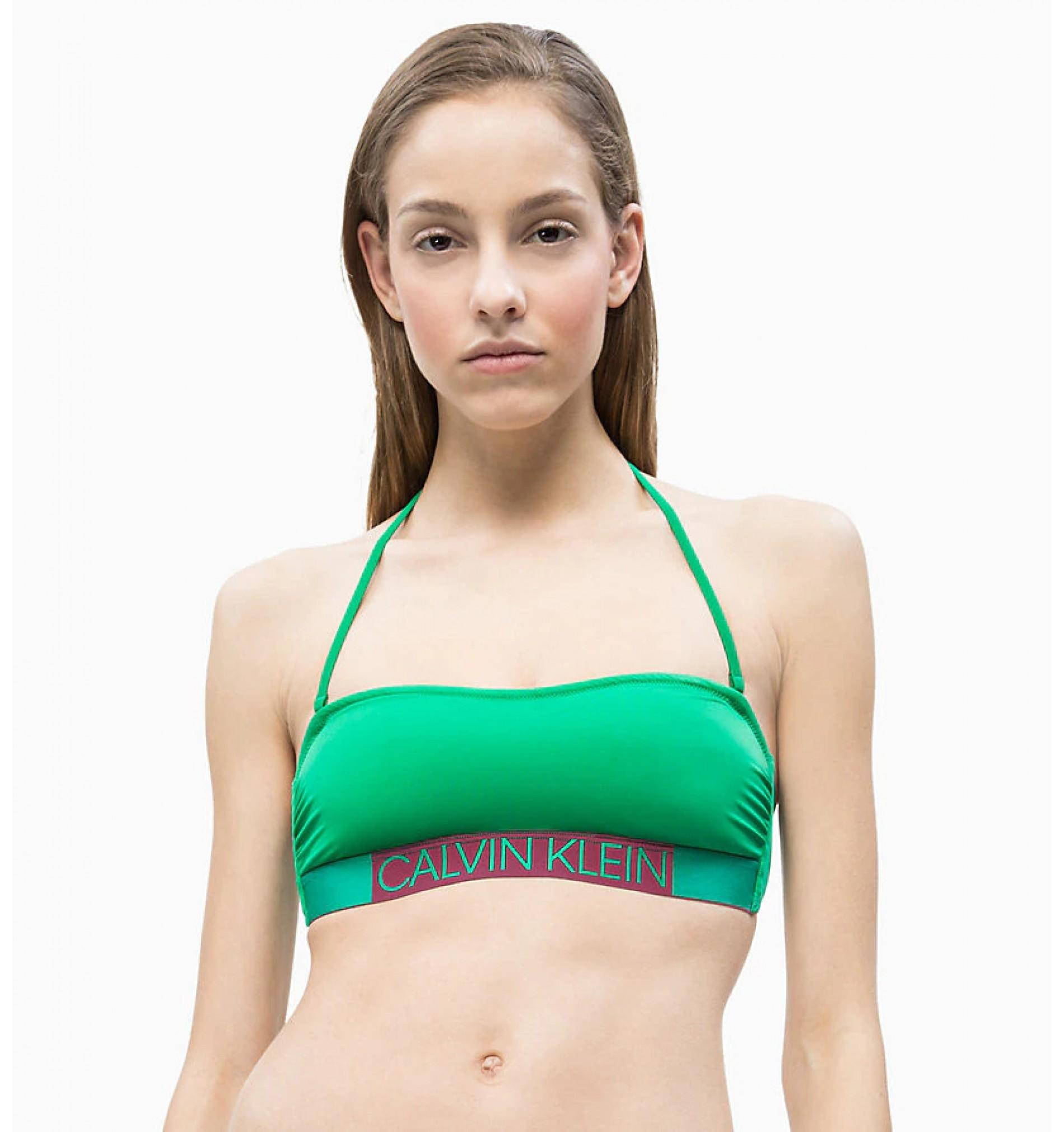 dámske plavky - PODPRSENKA BANDEAU 'CORE ICON' zelená  307