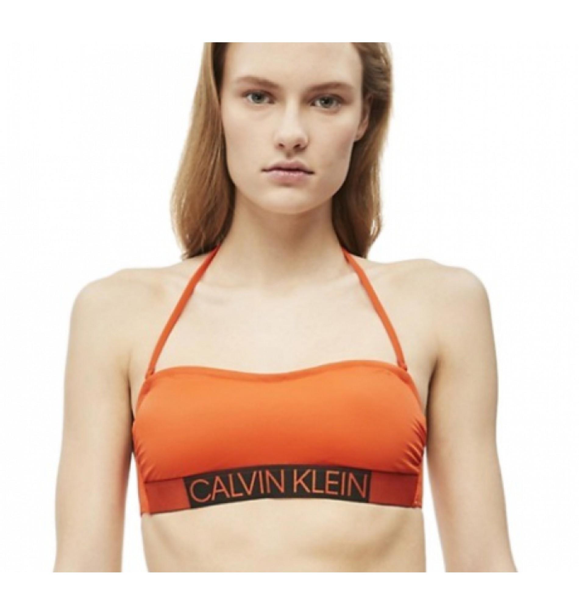 dámske plavky - PODPRSENKA BANDEAU 'CORE ICON' oranžová  659