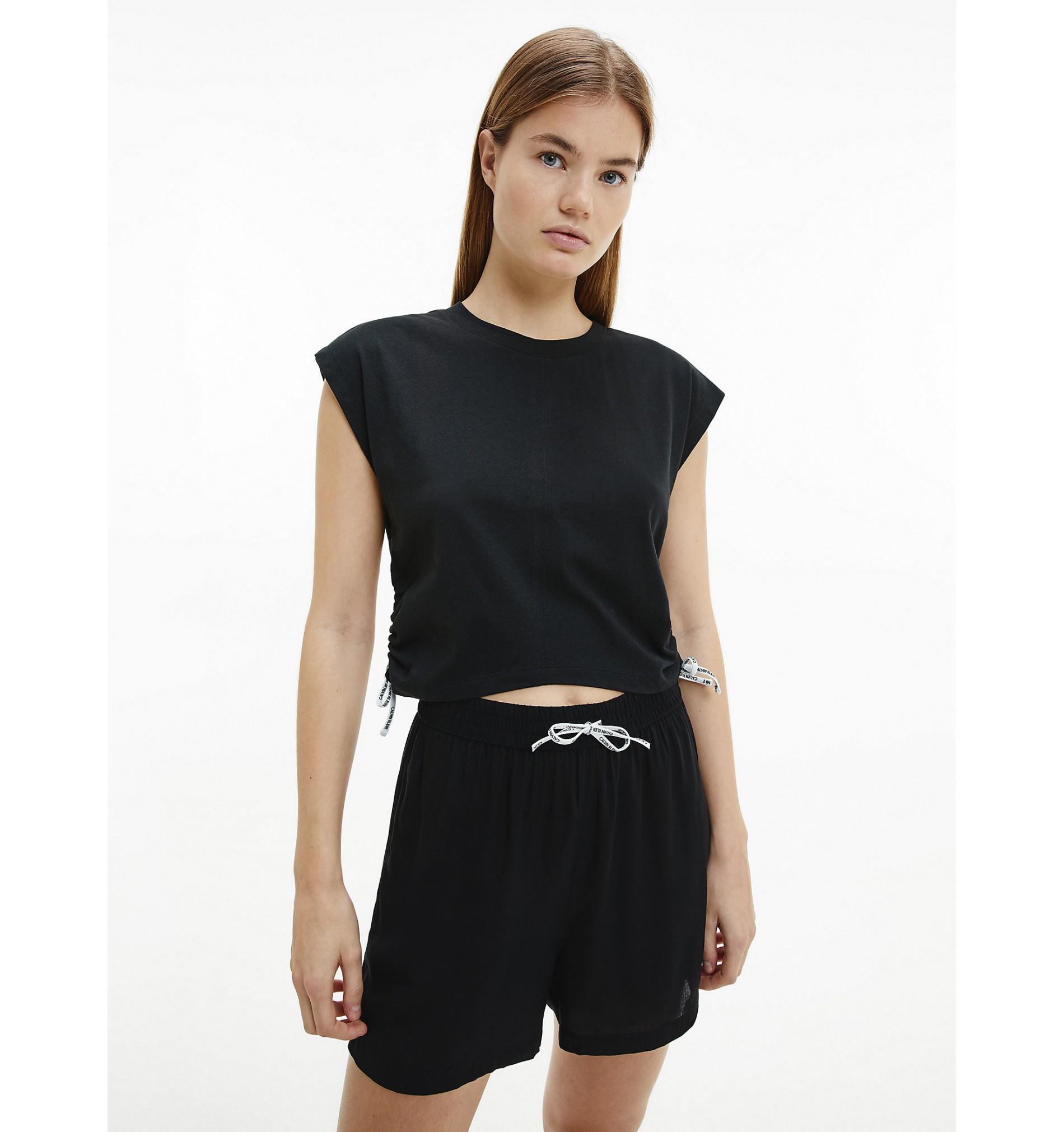 dámske plážové tričko 'LOGO TIES' čierne  BEH