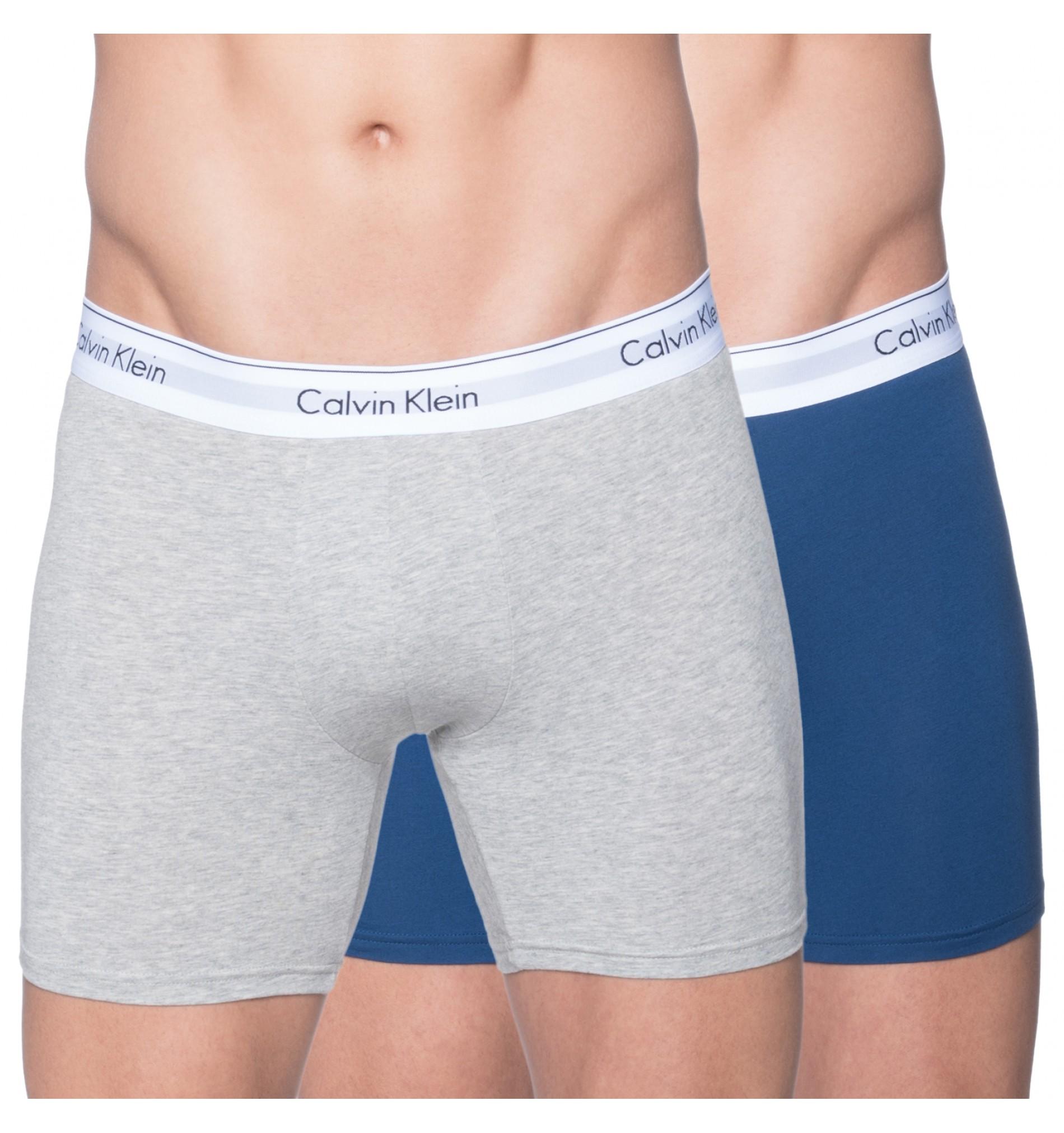 boxerky s predlženým strihom - 2PACK 'MODERN COTTON' modrá,sivá  YTQ