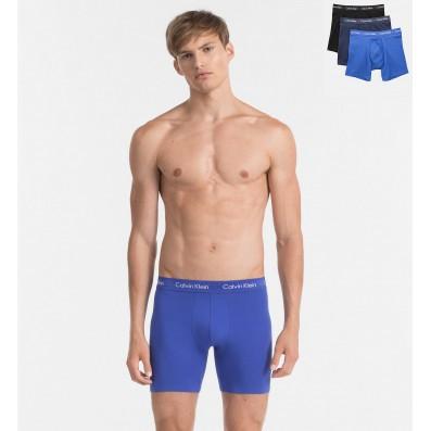 boxerky s predlženým strihom - 3PACK 'COTTON STRETCH' modrá,tmavomodrá,čierna  1KU