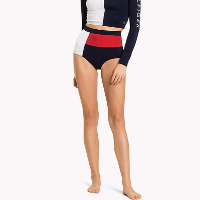 dámske plavky - BIKINI HIGH WAIST 'WITH FLAG' modré s logom  979
